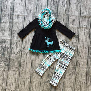 Fall Preorder: Mint Alpine Deer Print Scarf Outfit