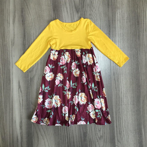 [PREORDER] Mommy & Me Floral Dress - Gold and Brick Red (Child)