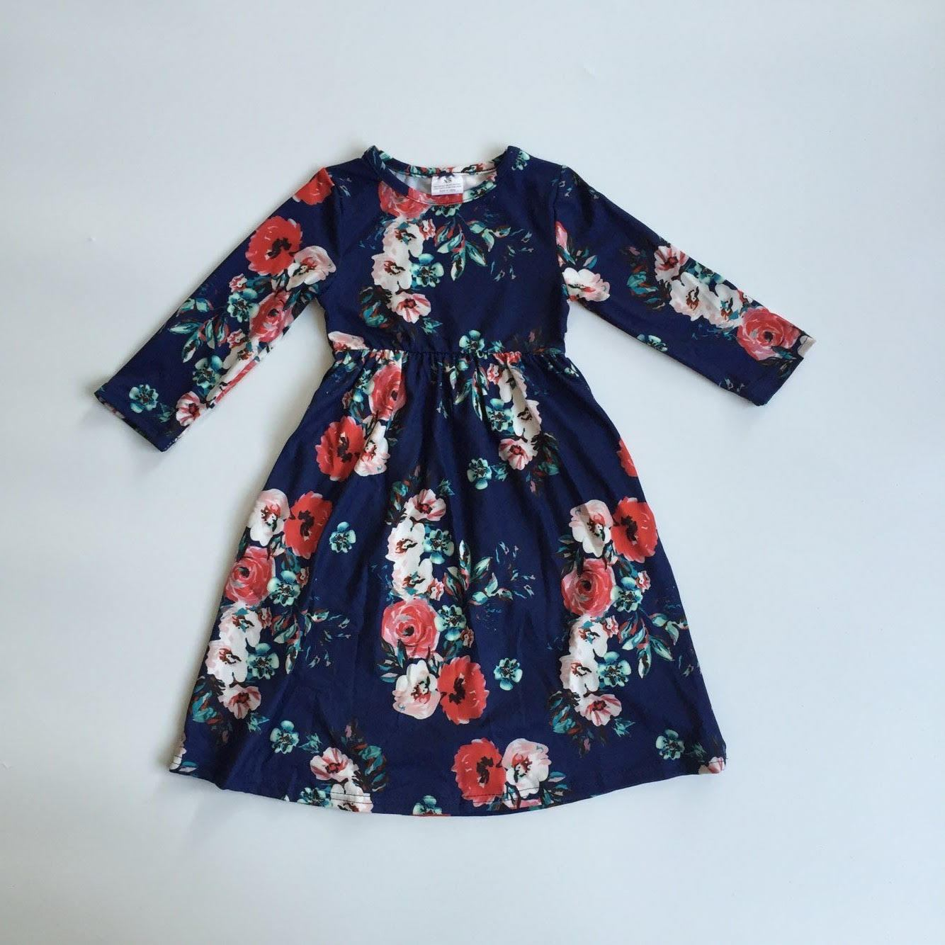 Mommy and Me Floral Dress - Navy (Child)