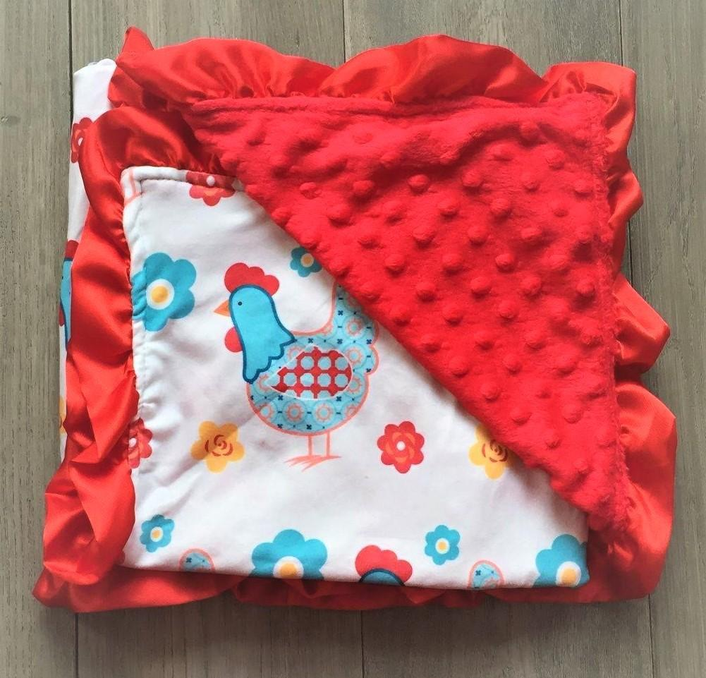 Red Cluckers Minky Blanket NEW-MT-201901