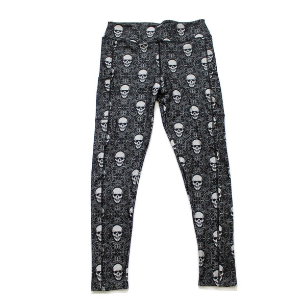 Damask Skulls full length legging with pockets