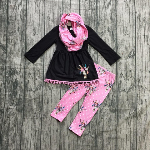 Fall Preorder: Pink Polka Dot Steer Scarf Outfit