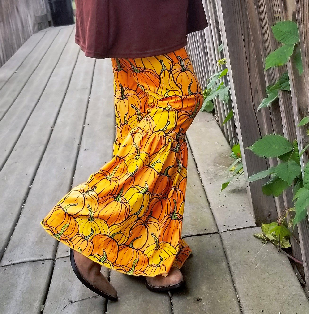 Oh My Gourds! Pumpkin Bell Bottom Pants