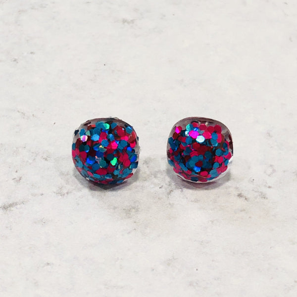 10mm glitter studs pink and blue faceted - Bold & Bright Boutique