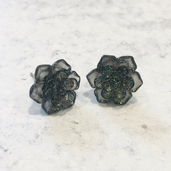 Out Of This World Galaxy and Sparkle Succulent stud earring set - Bold & Bright Boutique
