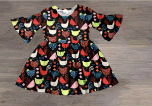 Vibrant Cluckers Ruffle Sleeve Dress