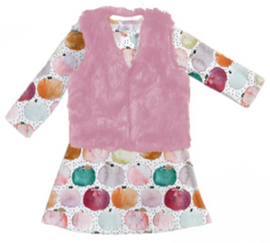 [PREORDER] Fall Preorder: Watercolor Pumpkins Dress with Pink Fuzzy Vest