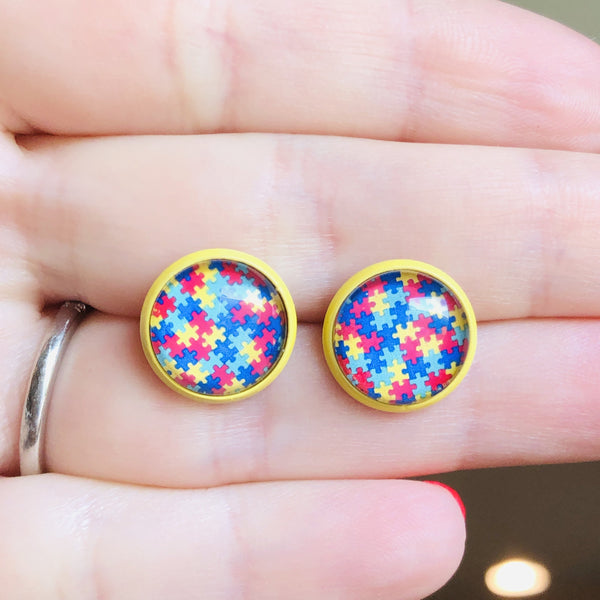 Puzzle piece round 12mm studs with yellow posts - Bold & Bright Boutique