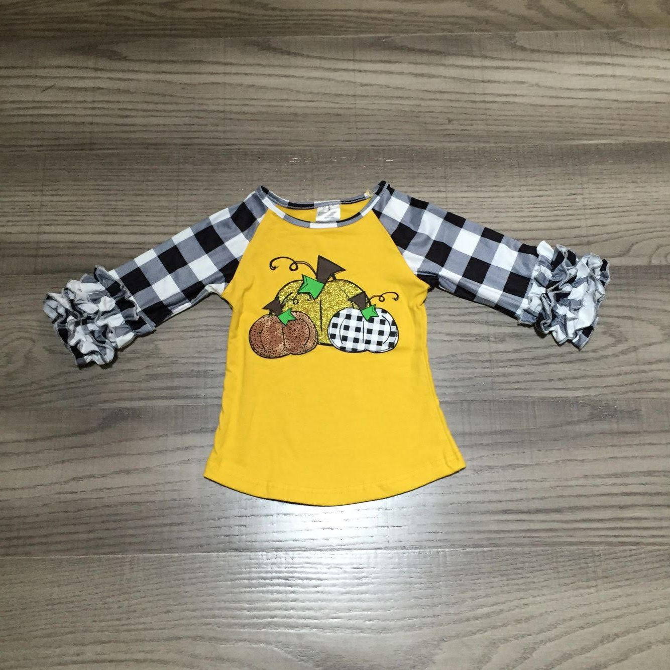 [PREORDER] Buffalo Plaid / Golden Pumpkins Ruffle Sleeve Tee - Fall Preorder