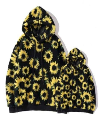 [PREORDER] Fall Preorder: Fuzzy Sunflower Zip Fleece Hooded Sweatshirt