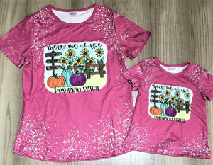Fall Short Sleeve Autumn Bleached Tee (Pink Pumpkin Patch) - ADULT