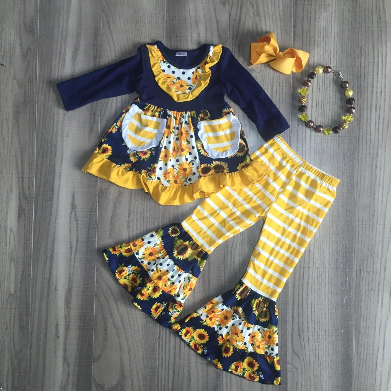 Navy and Gold Sunflower Bell Bottom Outfit - [PREORDER] Fall Preorder
