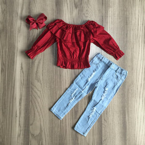 [PREORDER] Scarlet Ruffles Distressed Denim Set - Fall Preorder