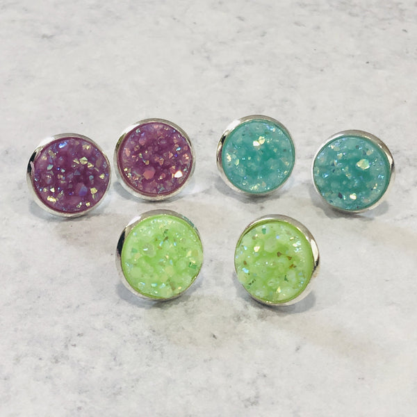 Easter Spring 12mm Faux Druzy Stud Earring Set - Lime, Purple and Blue - Bold & Bright Boutique