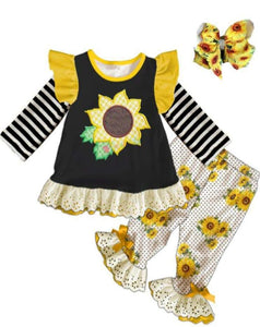 [PREORDER] Fall Preorder: Sunflower Stripes Ruffles and Lace Outfit w/Accessories