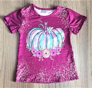 FALL SHORT SLEEVE BLEACHED PUMPKIN TEE - ADULT