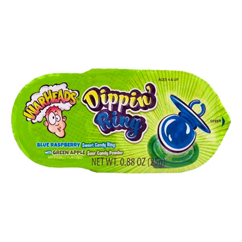 Warheads Dippin Ring Blue Raspberry Ring With Green Apple Powder