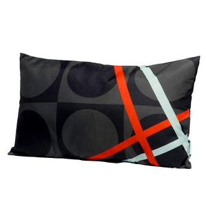 Eclante BelGusto Indoor Outdoor Throw Pillow | Gray, Black, Turquoise and Red