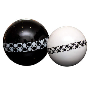 Eclante Decorative Sphere Sculpture | Black, White and Black Pattern