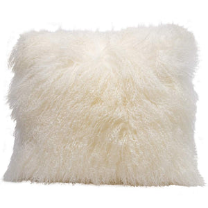 Eclante Mongolian Lamb Fur White Throw Pillow | 100% Real Mongolian Lamb Fur