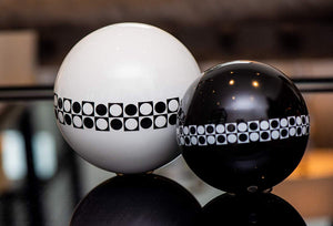 Eclante Decorative Sphere Sculpture | White, Black and White Pattern