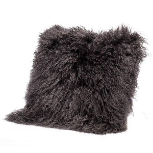 Eclante Mongolian Lamb Fur Dark Gray Throw Pillow | 100% Real Mongolian Lamb Fur