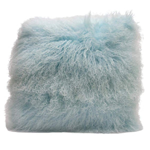 Eclante Mongolian Lamb Fur Turquoise Blue Throw Pillow | 100% Real Mongolian Lamb Fur