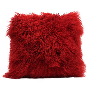 Eclante Mongolian Lamb Fur Red Throw Pillow | 100% Real Mongolian Lamb Fur