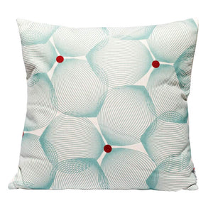 Efizzy Throw Pillow | Off White and Turquoise