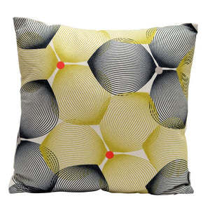 Eclante Efizzy Throw Pillow| Off White, Black and Lemon Green