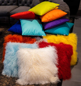 Eclante Mongolian Lamb Fur Yellow Throw Pillow | 100% Real Mongolian Lamb Fur