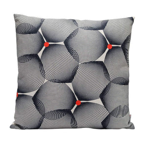 Eclante Efizzy Throw Pillow | Off White and Black with Red Dots