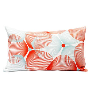 Eclante Efizzy Throw Pillow | Off White, Red and Turquoise