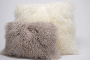 Eclante Mongolian Lamb Fur Light Gray Throw Pillow | 100% Real Mongolian Lamb Fur