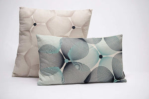 Eclante Efizzy Throw Pillow | Off White, Black and Turquoise