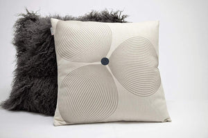 Estella Throw Pillow | Off White and Gray