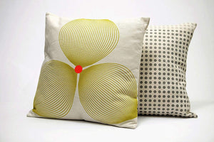 Estella Throw Pillow | Off White and Lemon Green