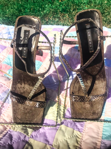 Brown Square Toe Sandal