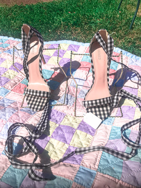 Gingham Tie Up Sandal
