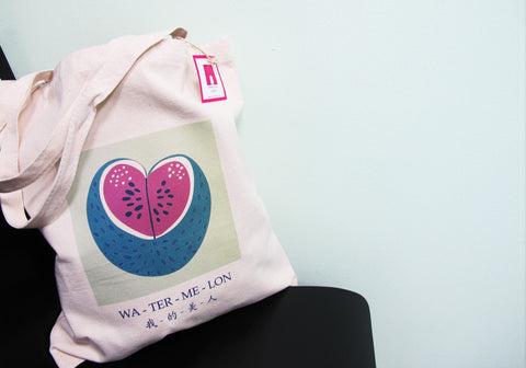 The Grapfeeks Room Singapore Design - Wa-Ter-Me-Lon Canvas Tote Bag