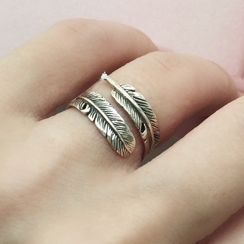 Naiise.com - JL Heart Sterling Silver Feather Adjustable Ring
