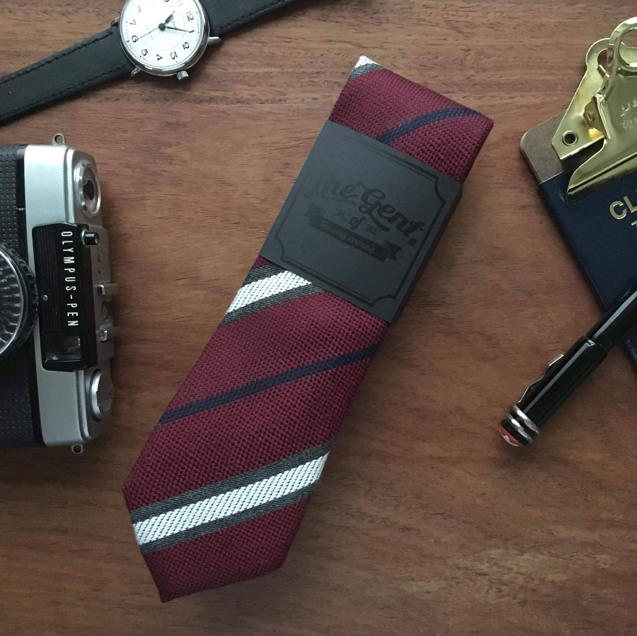 Necktie Brown | Red | Navy | Grey Lightning Stripe - Ties - Tuesday Evening - Naiise