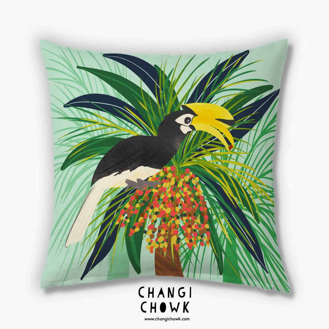 Cushion Cover - Hornbill Mint - Cushion Covers - Changi Chowk - Naiise