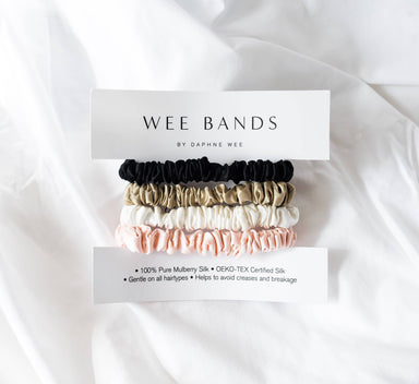 100% Pure Mulberry Wee Bands Silk Hair Scrunchies - Pink Collection - Hair Accessories - Wee Bands - Naiise