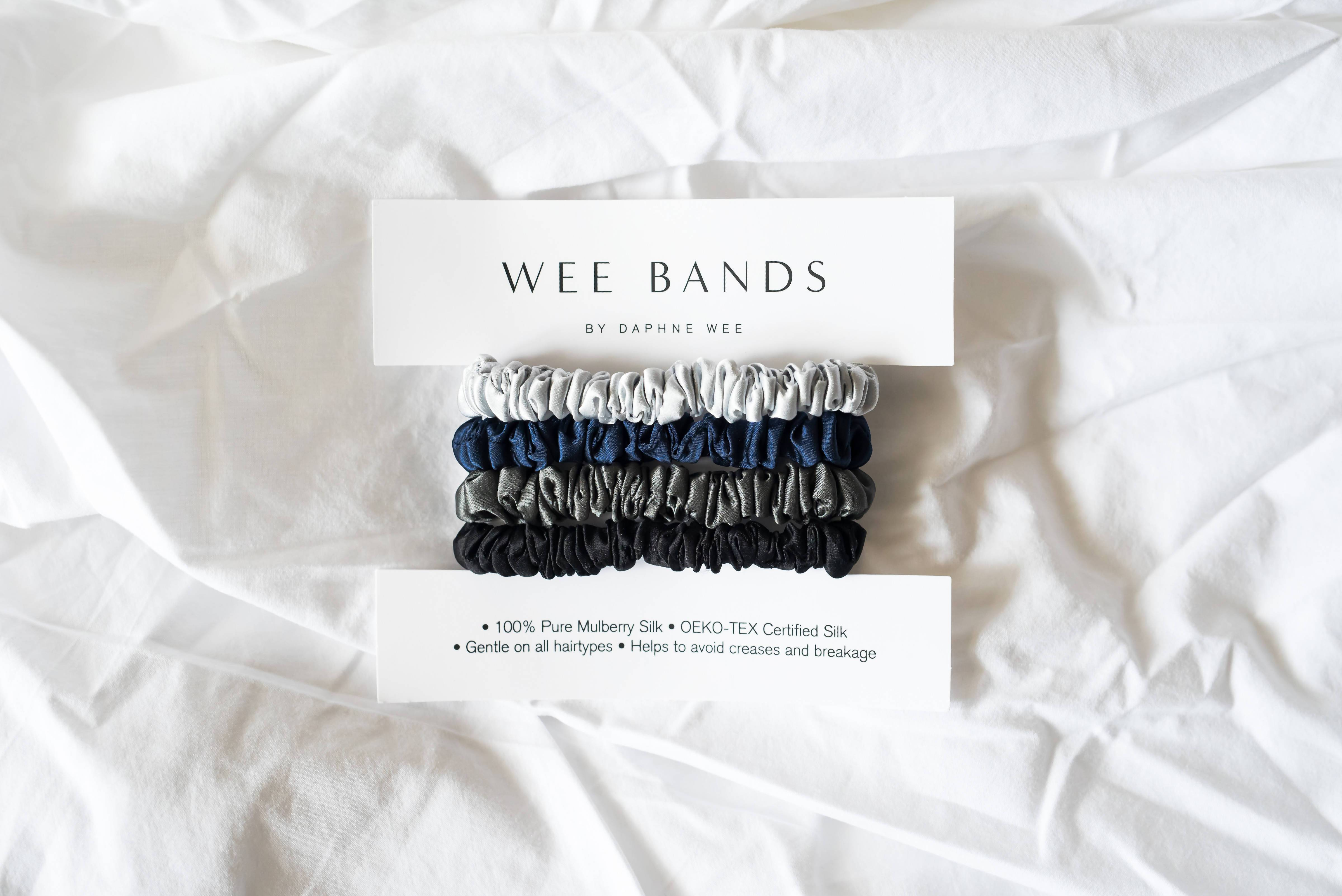 100% Pure Mulberry Wee Bands Silk Hair Scrunchies - Twilight Collection - Hair Accessories - Wee Bands - Naiise