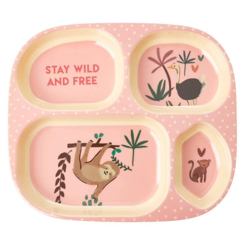 Melamine Kids 4 Room Plate with Pink Jungle Animals - Kitchenware - The Children's Showcase - Naiise