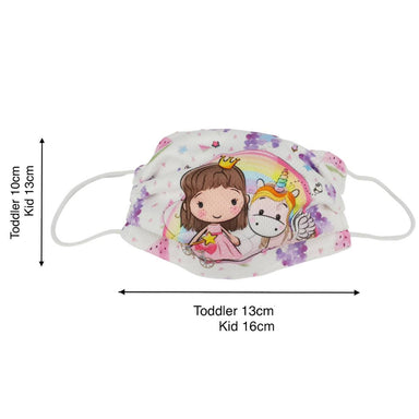 Toddler / Kids Reusable Dri-Fit Face Masks - Princess Unicorn - Fabric Masks - Zigzagme - Naiise