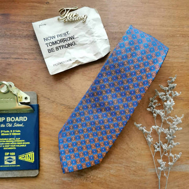 Mosaic Geo Blue Necktie | 8cm - Ties - Tuesday Evening - Naiise