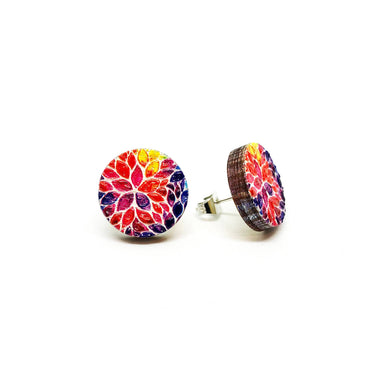 Rainbow Petals Wooden Earrings - Earring Studs - Paperdaise Accessories - Naiise