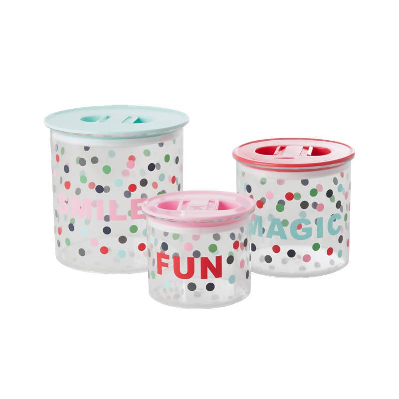 Plastic Food Boxes with 'Believe in Red Lipstick' Dots - Kitchenware - The Children's Showcase - Naiise